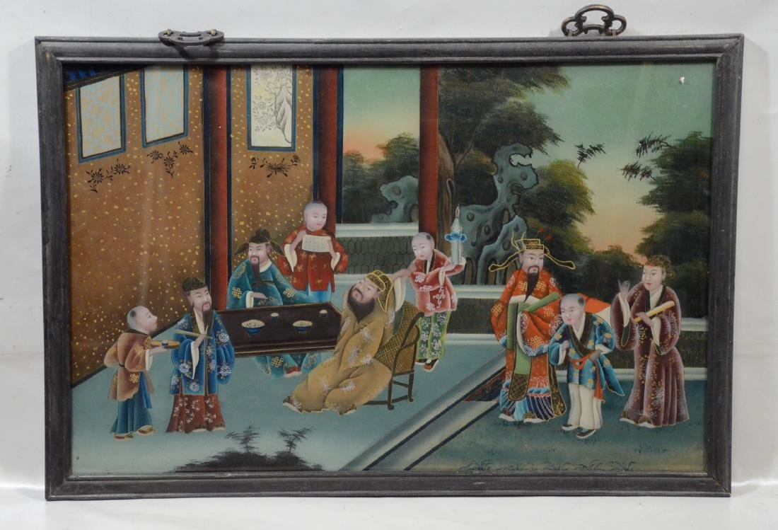 Large Chinese reverse painting on glass in teakwood