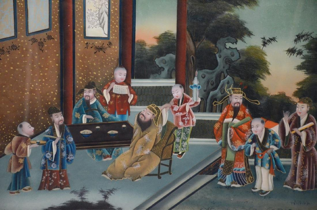 Large Chinese reverse painting on glass in teakwood - 2