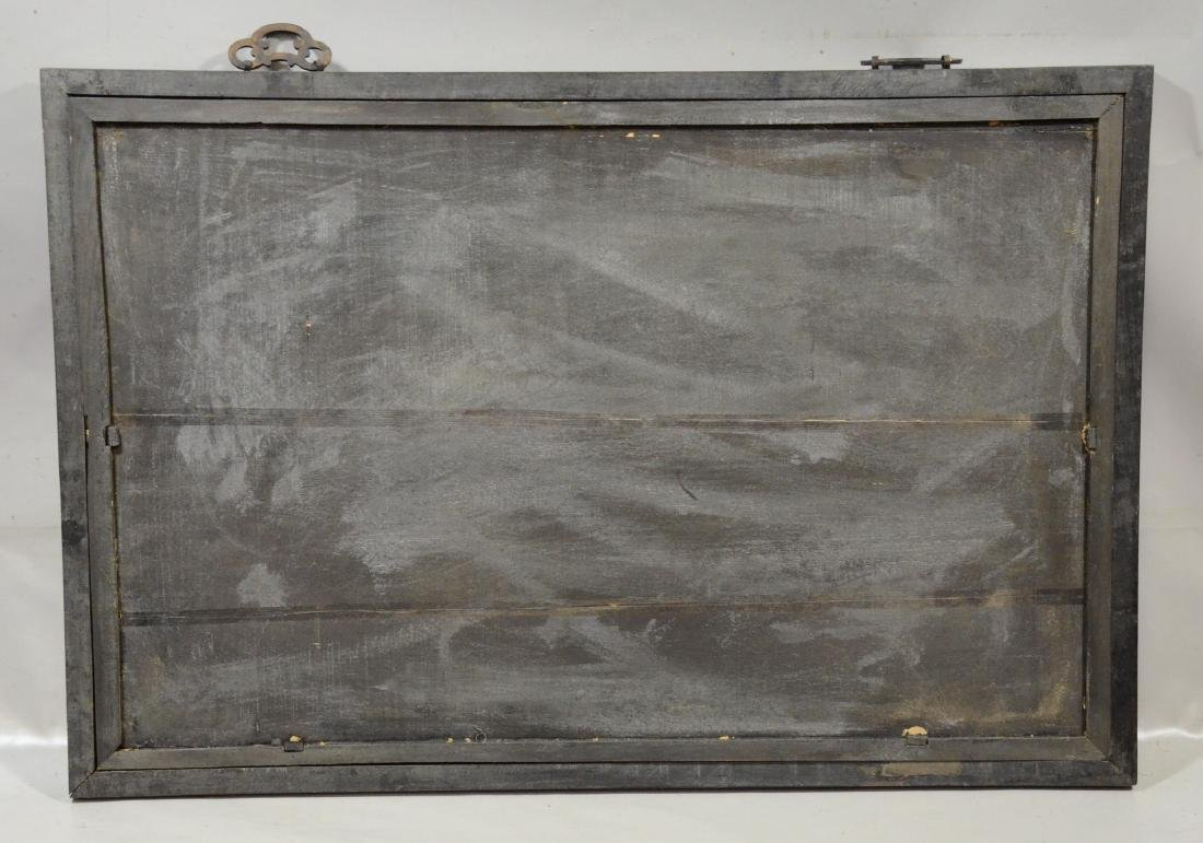 Large Chinese reverse painting on glass in teakwood - 3