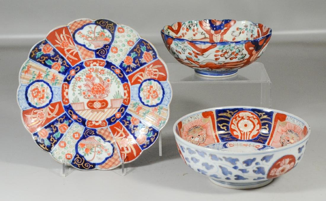 3 pcs Japanese Imari porcelain to include (2) bowls and - 5