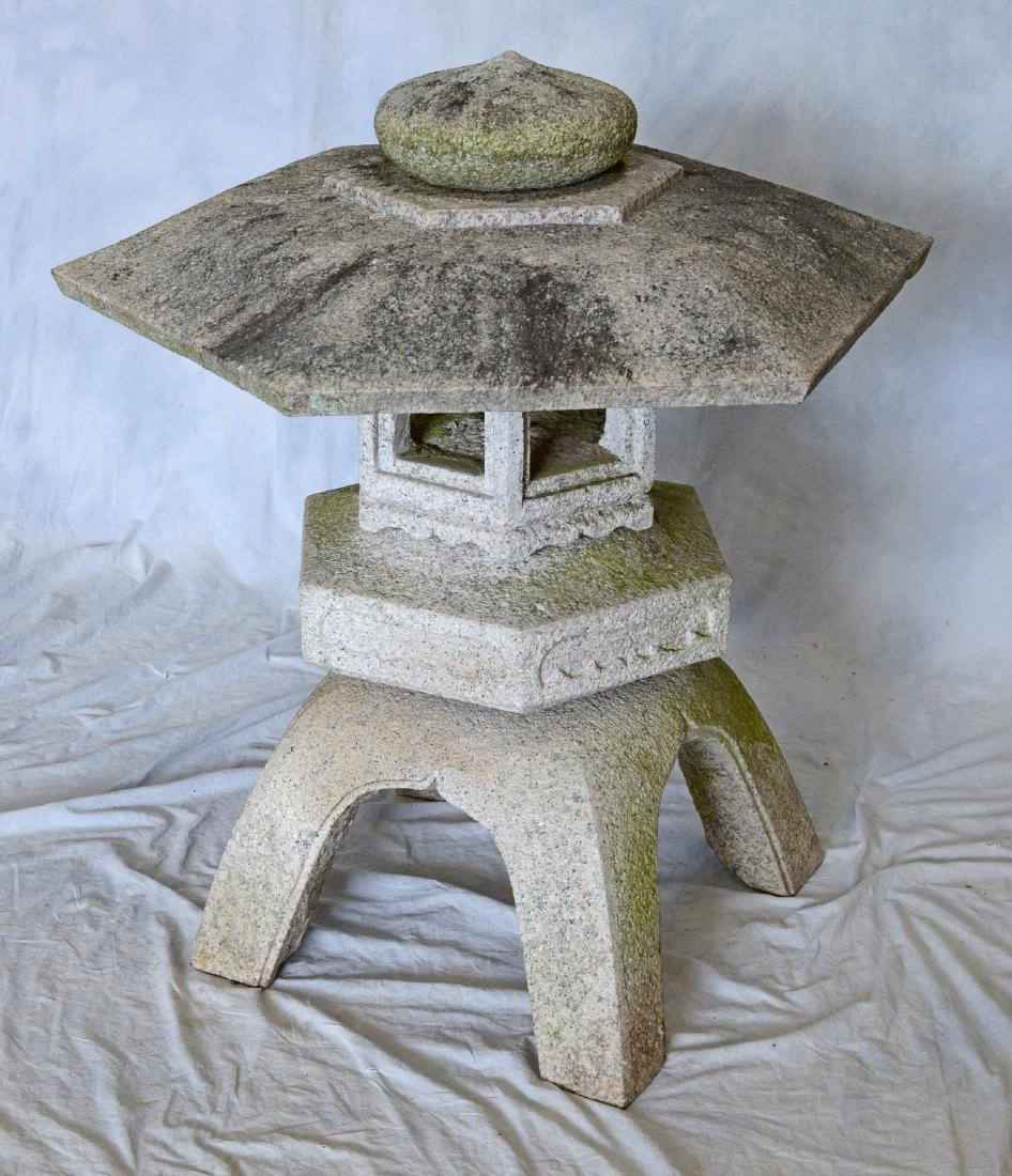 Japanese style (5) piece carved solid granite lantern,