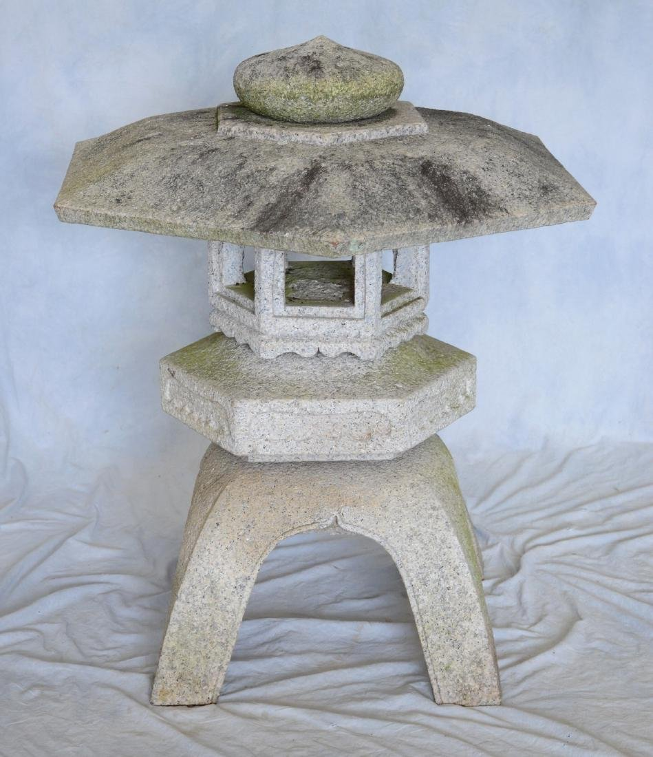 Japanese style (5) piece carved solid granite lantern, - 2