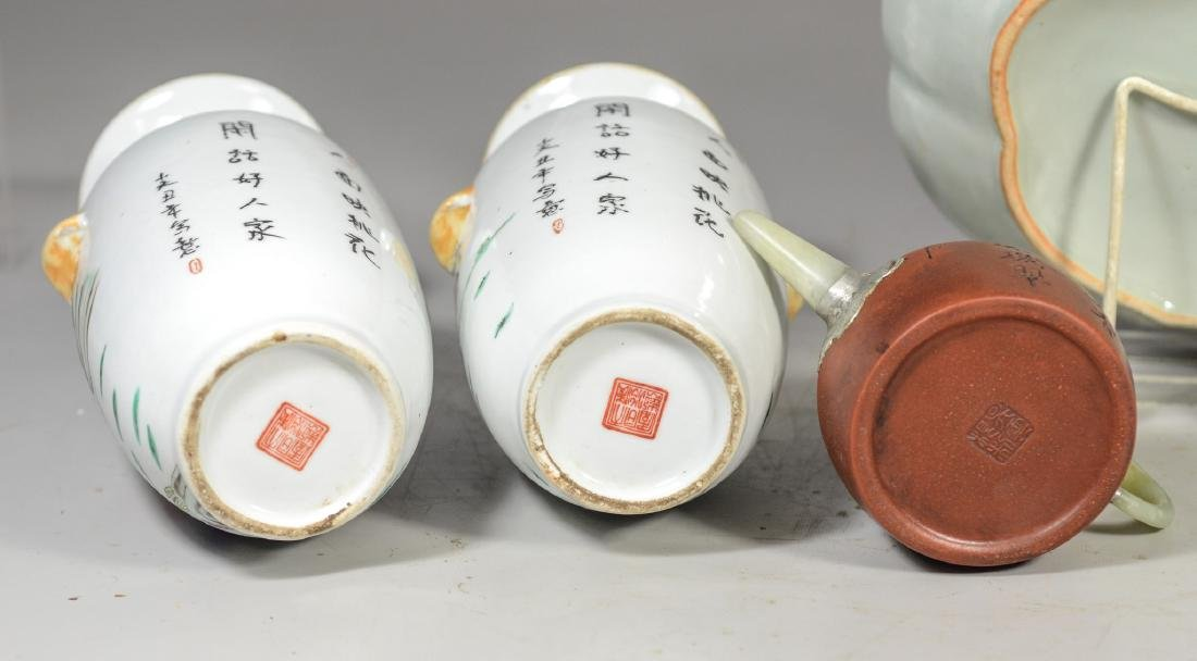 Five (5) pieces of Asian porcelain to include a pair of - 10
