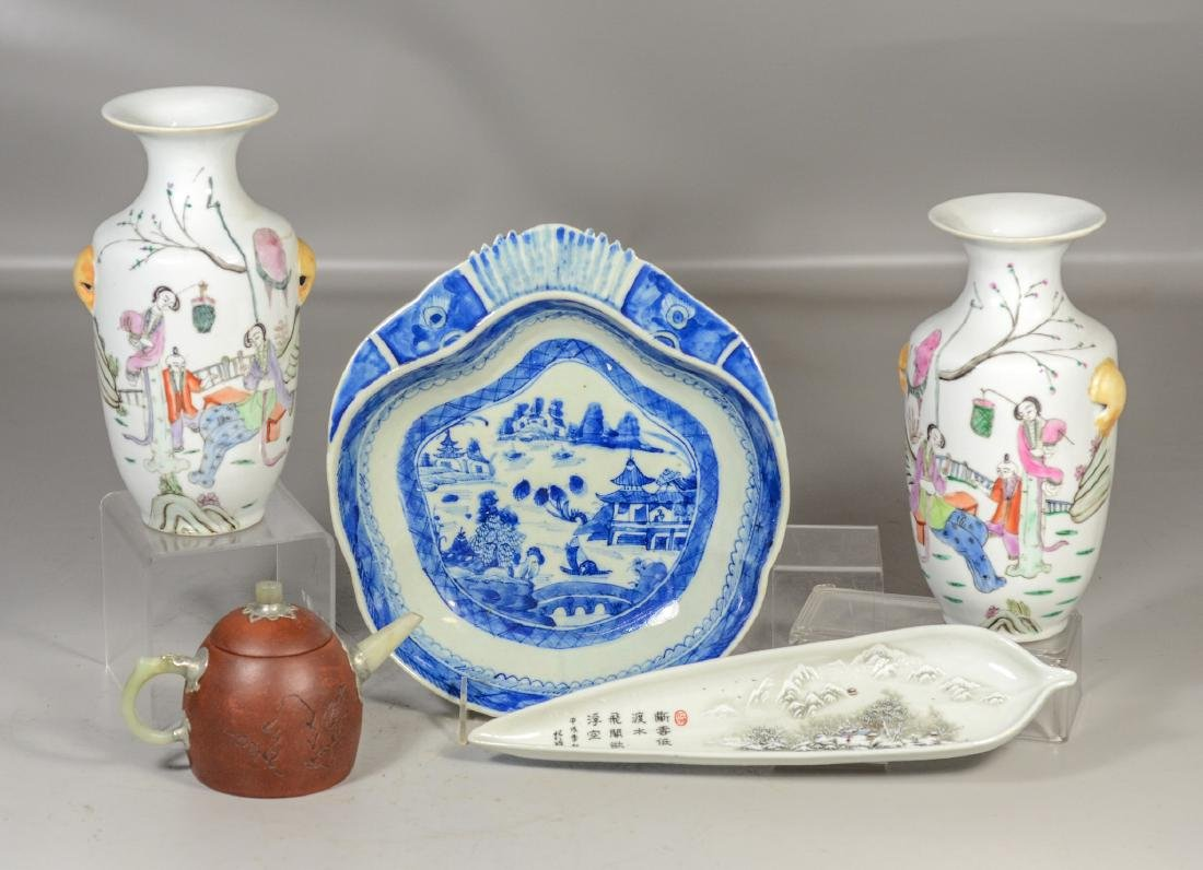 Five (5) pieces of Asian porcelain to include a pair of