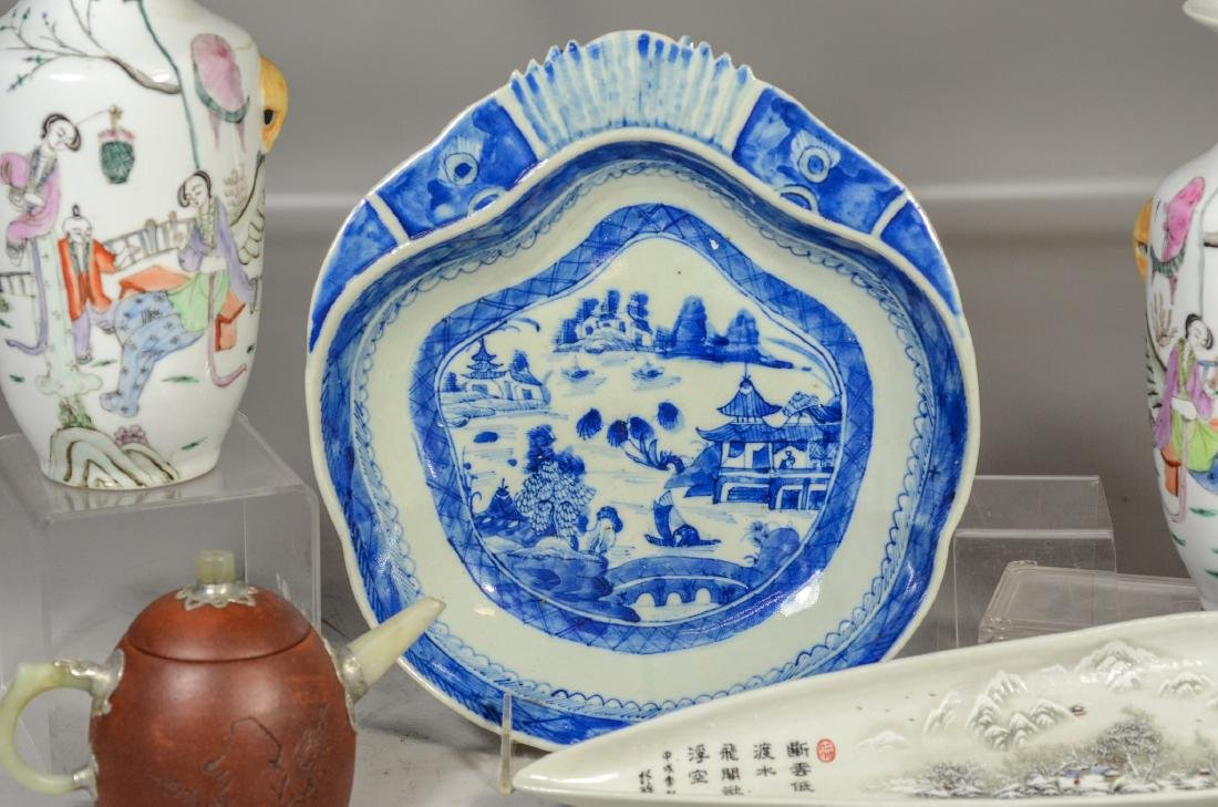 Five (5) pieces of Asian porcelain to include a pair of - 3