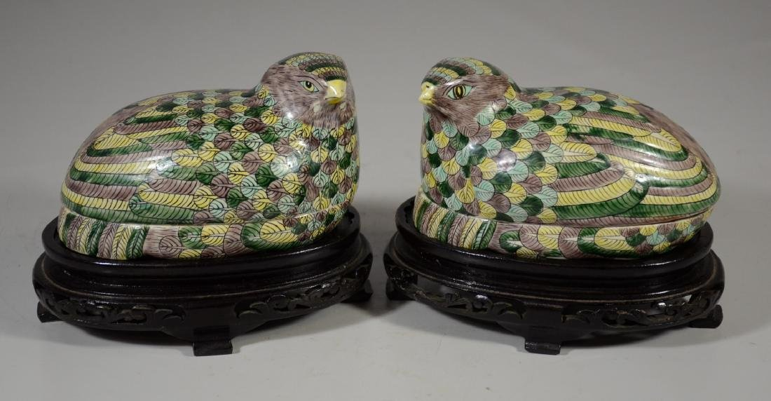 Pair of Chinese Famille Verte quail boxes on later