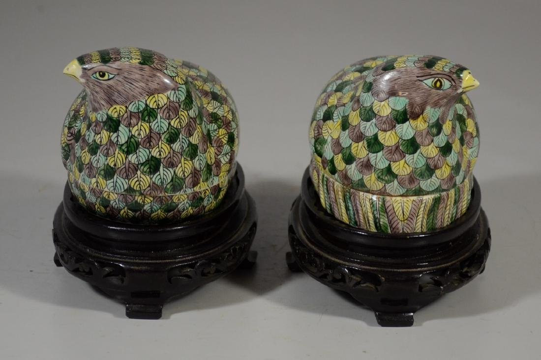 Pair of Chinese Famille Verte quail boxes on later - 2