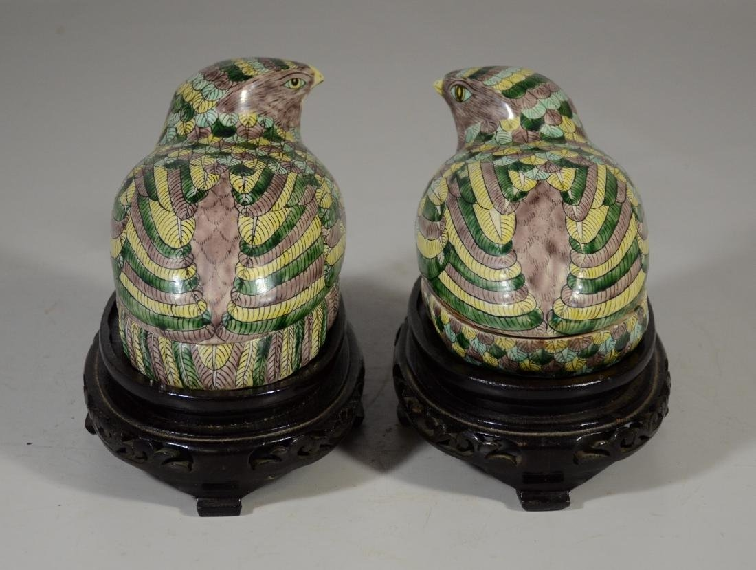 Pair of Chinese Famille Verte quail boxes on later - 4