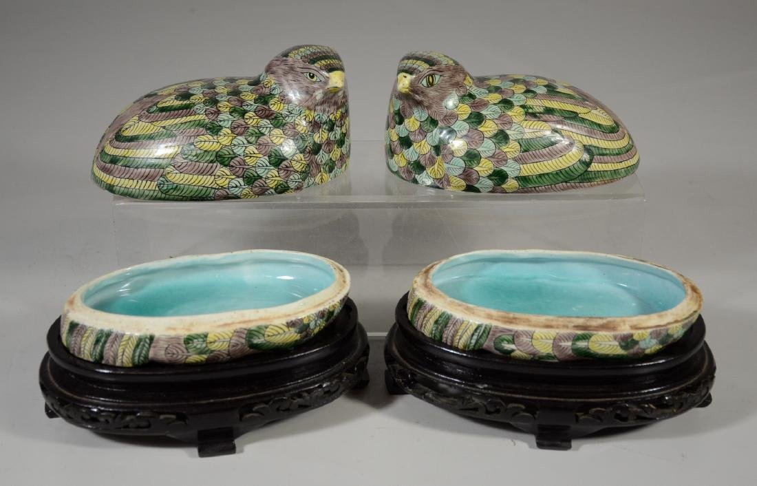 Pair of Chinese Famille Verte quail boxes on later - 5