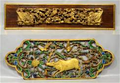 Two 2 Chinese carved painted and giltwood panels one