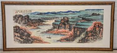 Monumental Asian horizontal scroll, watercolor harbor