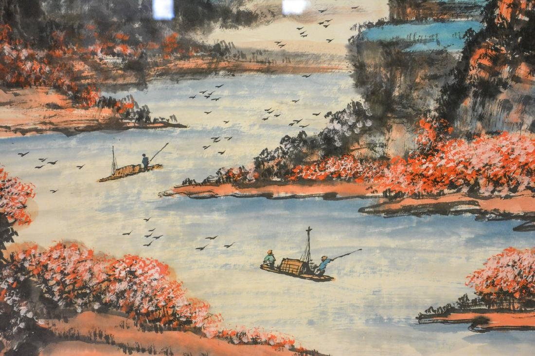 Monumental Asian horizontal scroll, watercolor harbor - 3