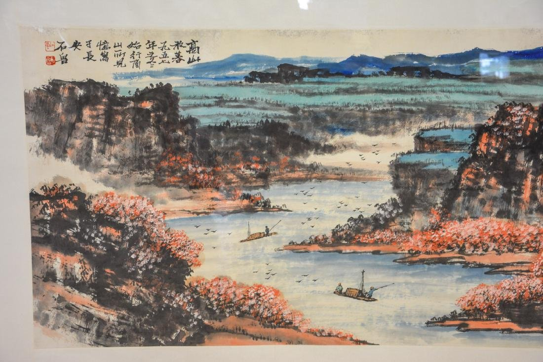 Monumental Asian horizontal scroll, watercolor harbor - 6
