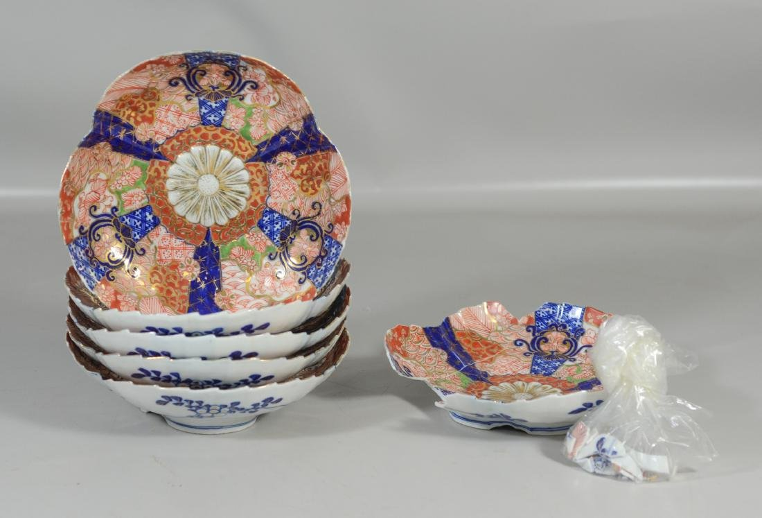 Five (5) Japanese Imari decorated fluted bowls,