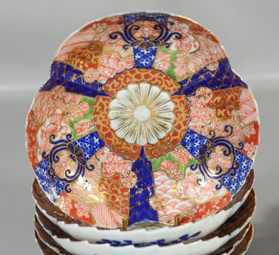 Five (5) Japanese Imari decorated fluted bowls, - 2