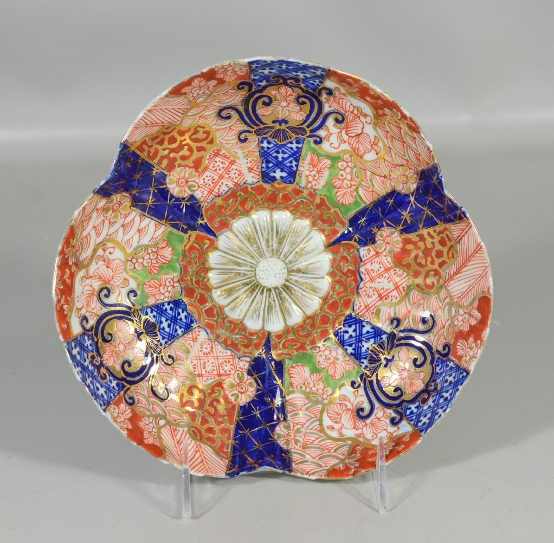 Five (5) Japanese Imari decorated fluted bowls, - 3