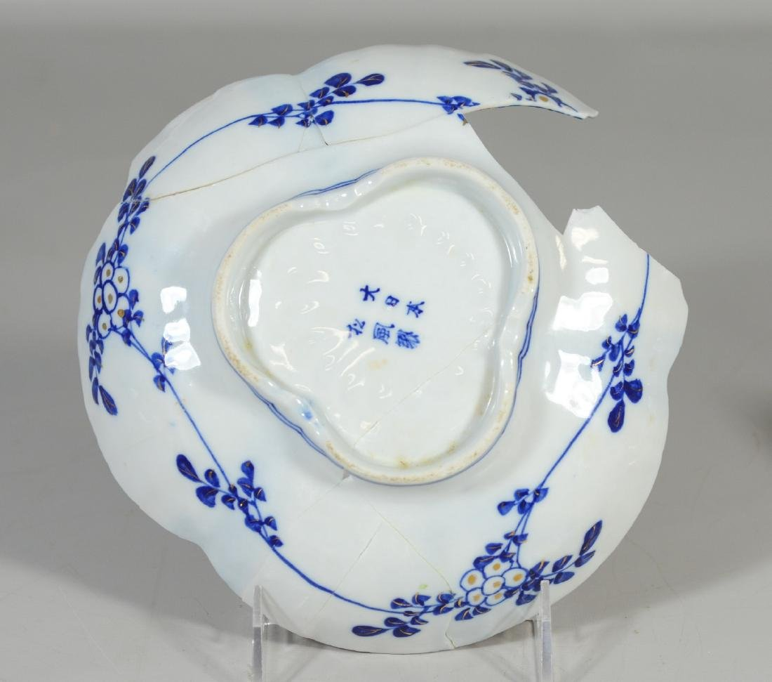Five (5) Japanese Imari decorated fluted bowls, - 7