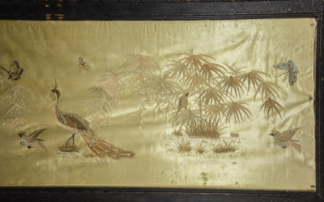 Long Chinese horizontal framed embroidery, peacocks, - 2