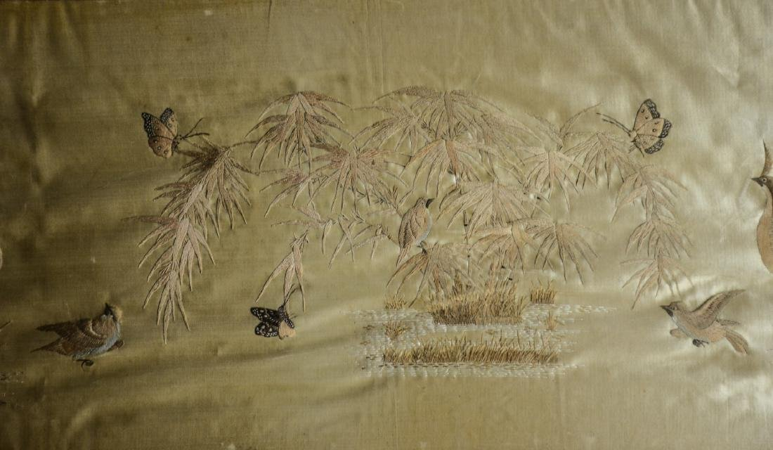 Long Chinese horizontal framed embroidery, peacocks, - 3