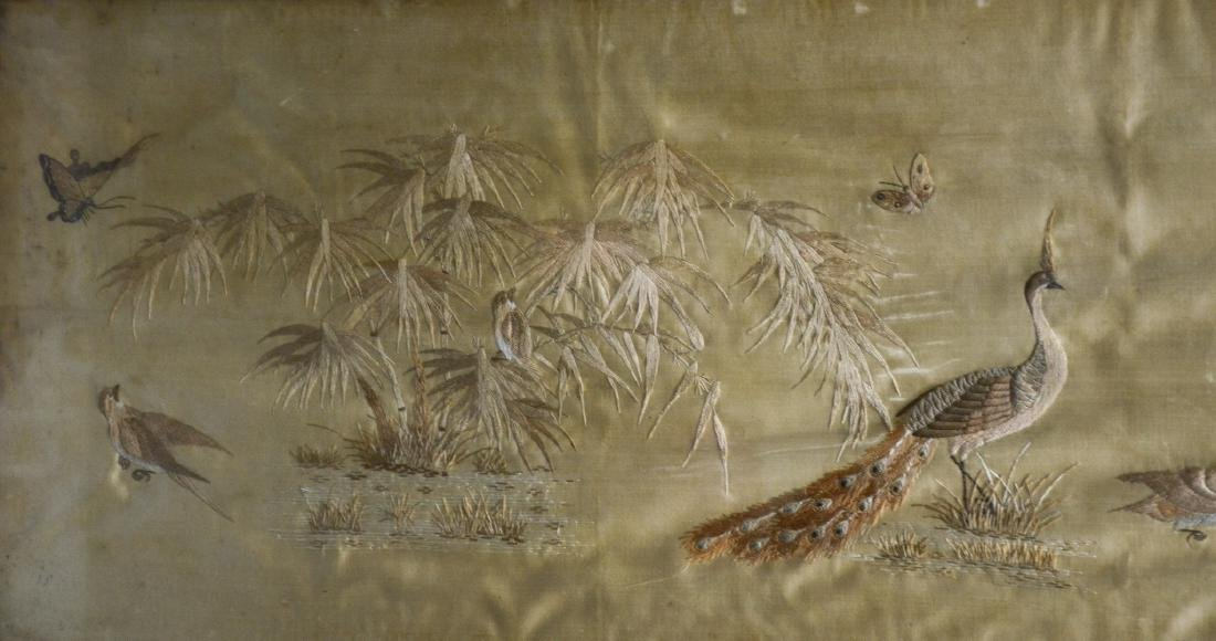 Long Chinese horizontal framed embroidery, peacocks, - 4