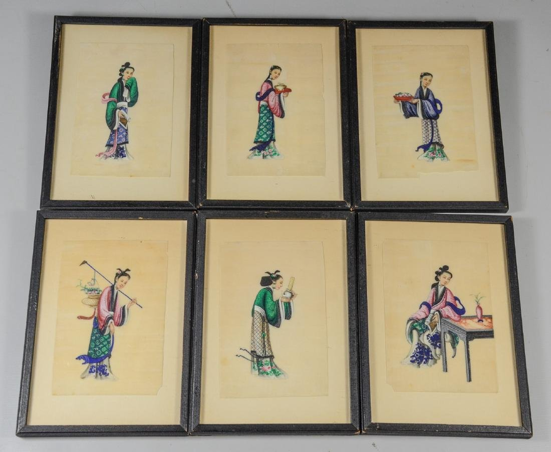 (6) Chinese pith painting watercolors depicting young