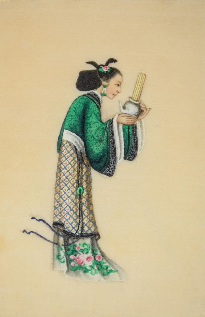 (6) Chinese pith painting watercolors depicting young - 3