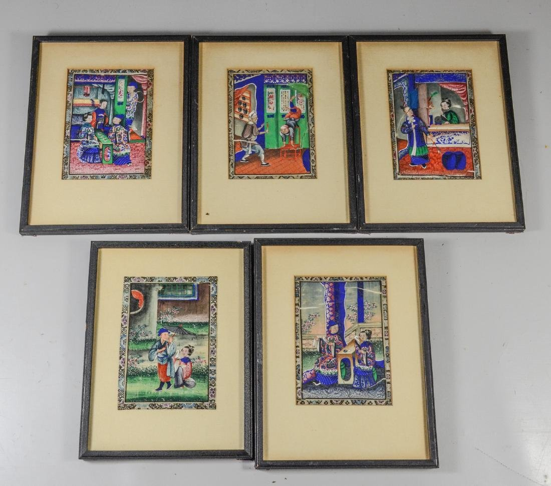(5) Chinese pith painting watercolors depicting garden