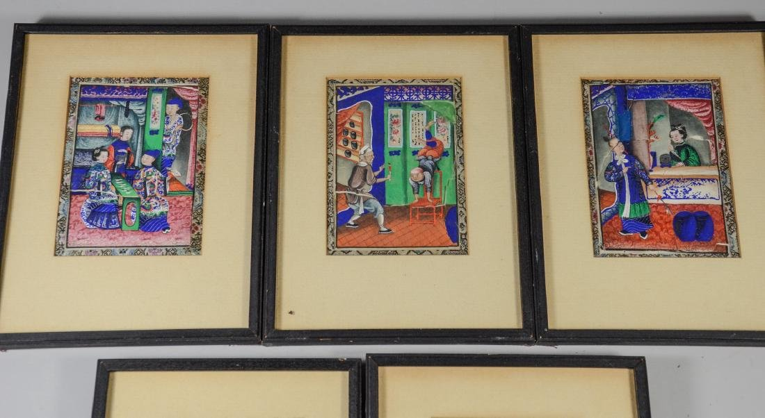 (5) Chinese pith painting watercolors depicting garden - 2