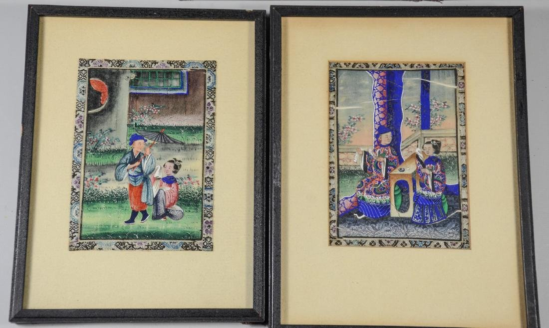 (5) Chinese pith painting watercolors depicting garden - 3