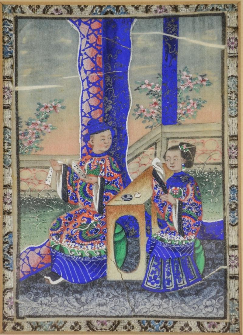 (5) Chinese pith painting watercolors depicting garden - 4