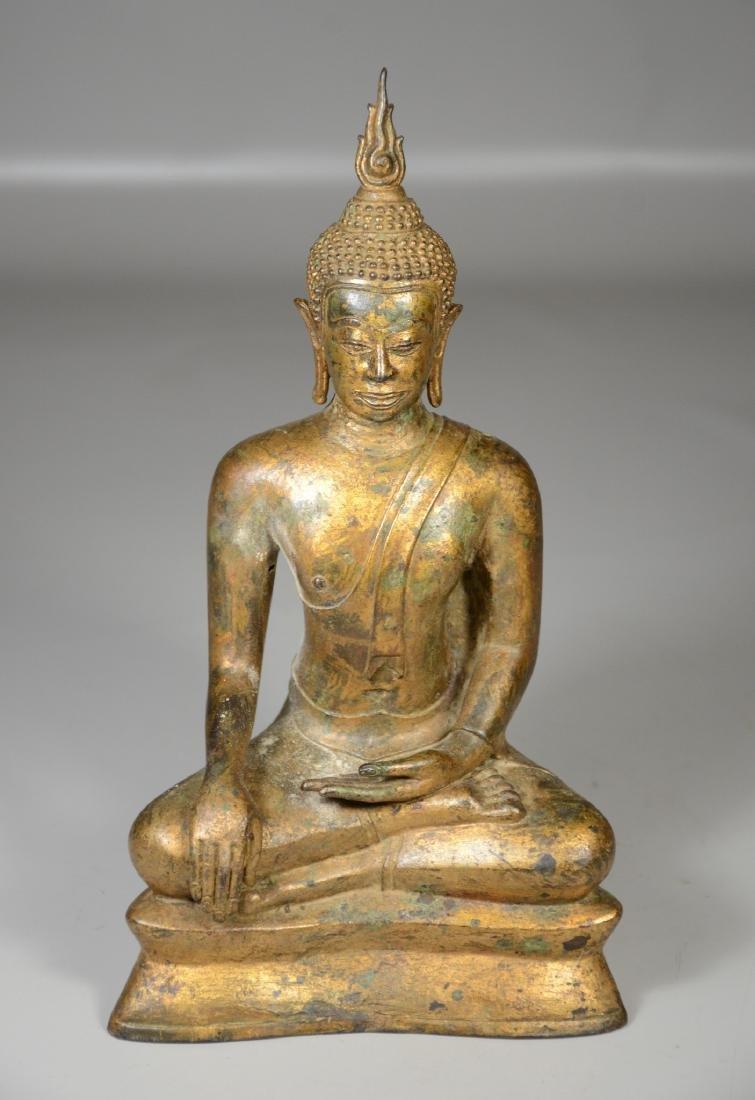 "Thai gilt bronze buddha, 12"" h"