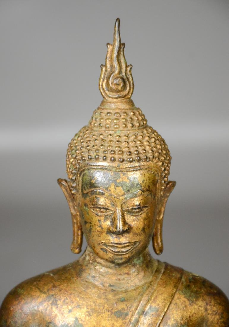 "Thai gilt bronze buddha, 12"" h - 2"