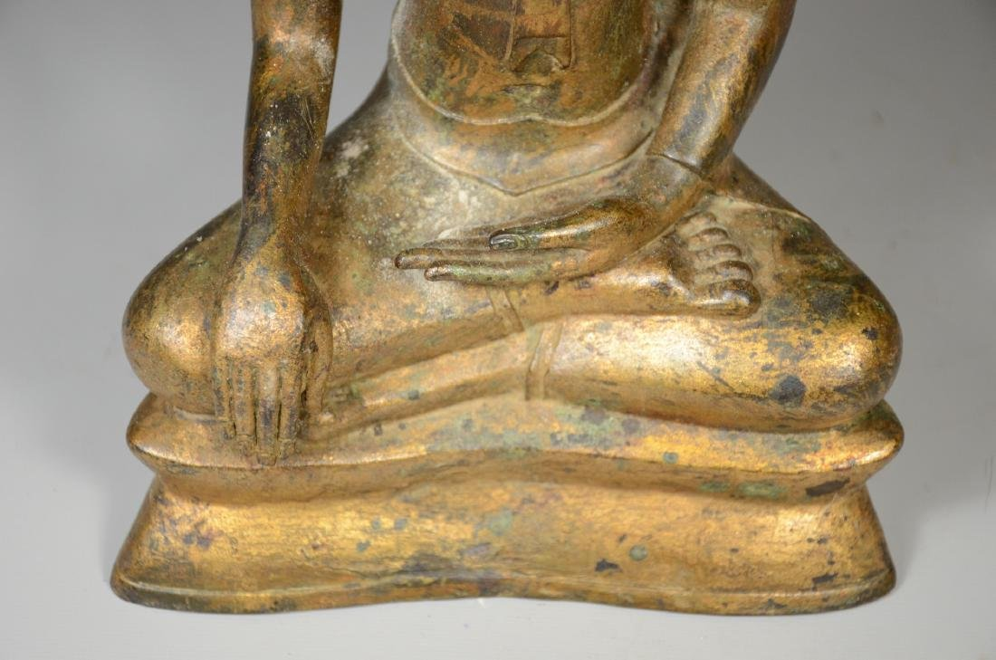 "Thai gilt bronze buddha, 12"" h - 3"