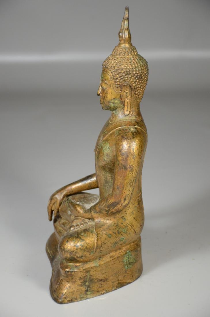 "Thai gilt bronze buddha, 12"" h - 4"