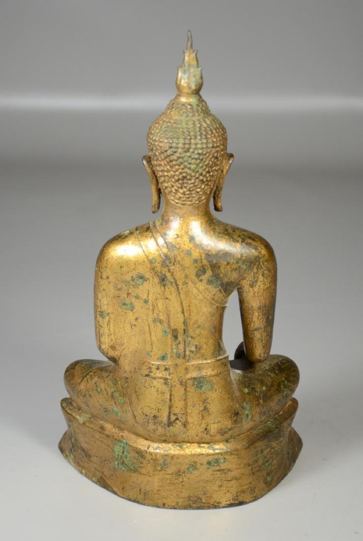 "Thai gilt bronze buddha, 12"" h - 5"