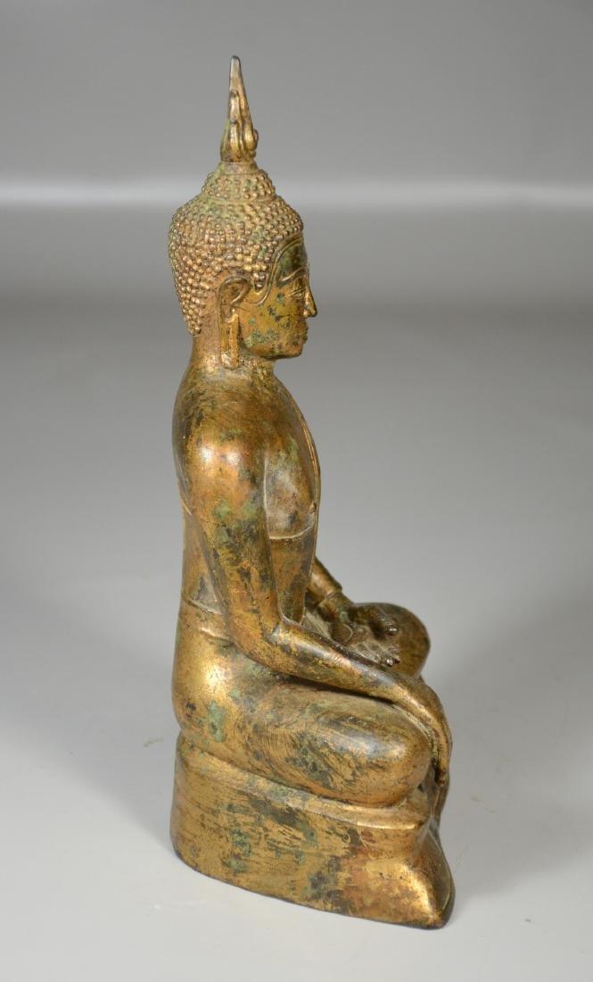 "Thai gilt bronze buddha, 12"" h - 6"
