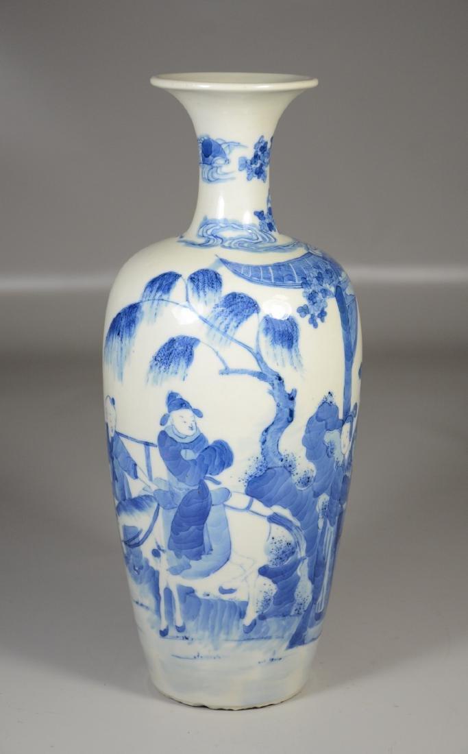 Chinese blue & white porcelain vase, garden scene with