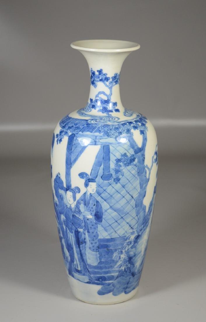 Chinese blue & white porcelain vase, garden scene with - 2