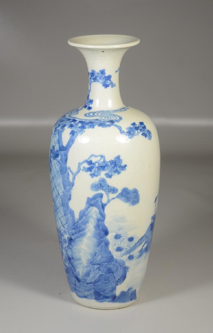 Chinese blue & white porcelain vase, garden scene with - 3