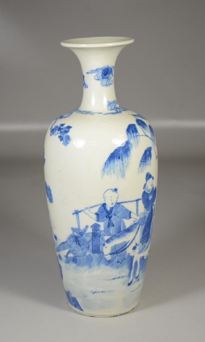 Chinese blue & white porcelain vase, garden scene with - 4
