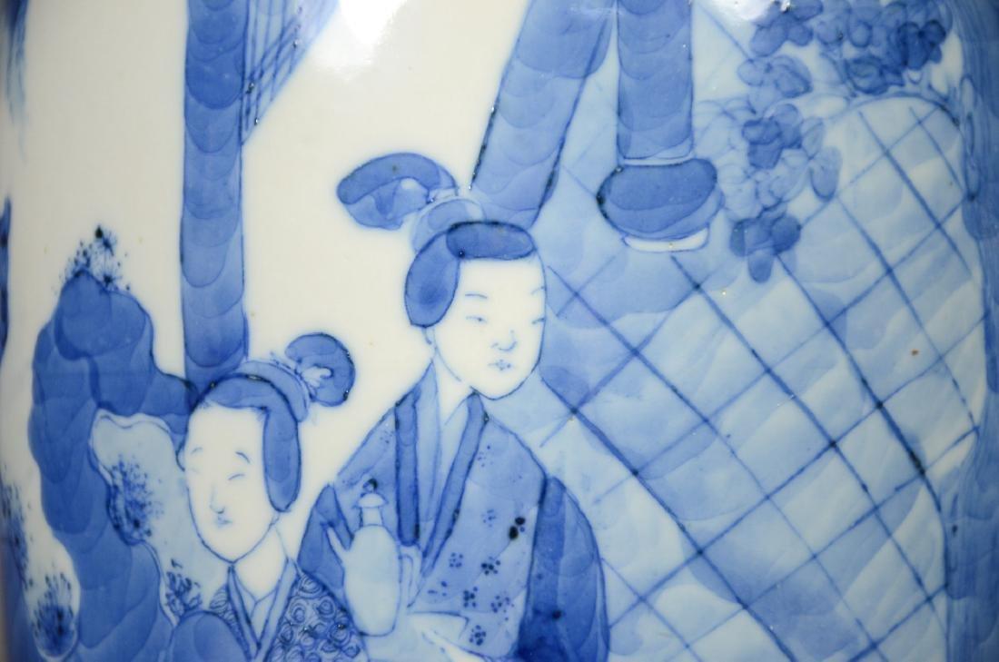 Chinese blue & white porcelain vase, garden scene with - 5