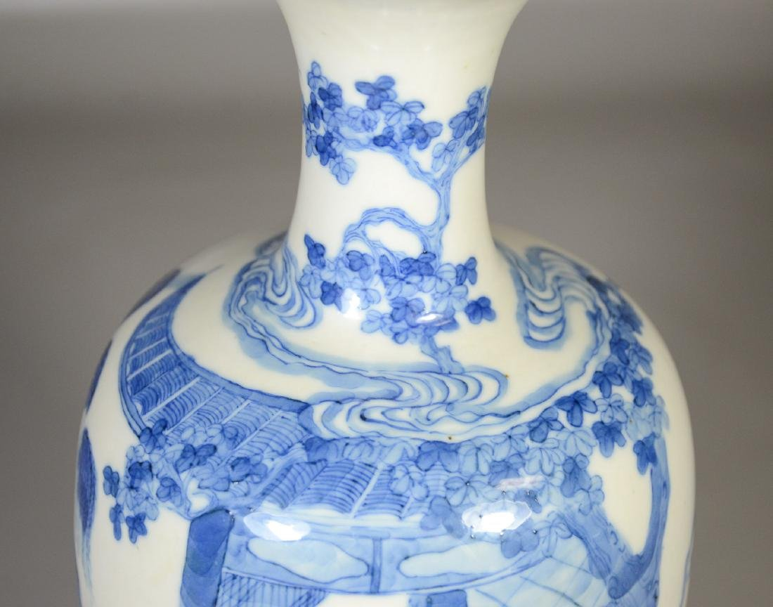 Chinese blue & white porcelain vase, garden scene with - 6