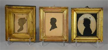 3 Gilt framed early silhouettes, 2 gentlemen, 1 lady,
