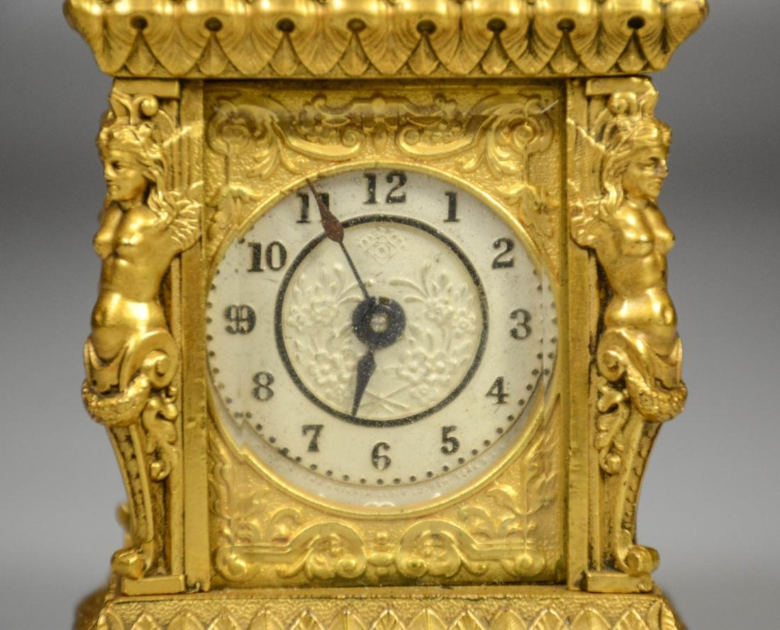 Continental gilt carriage clock, caryatid column - 4