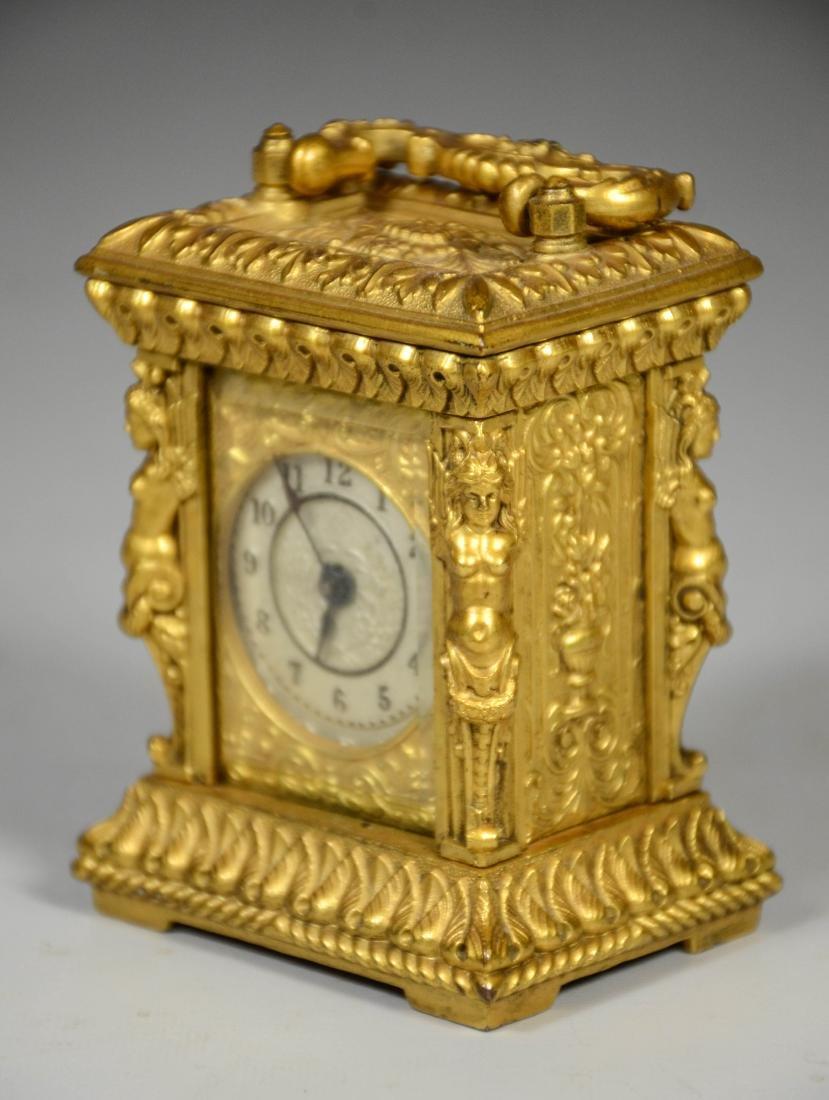 Continental gilt carriage clock, caryatid column - 5