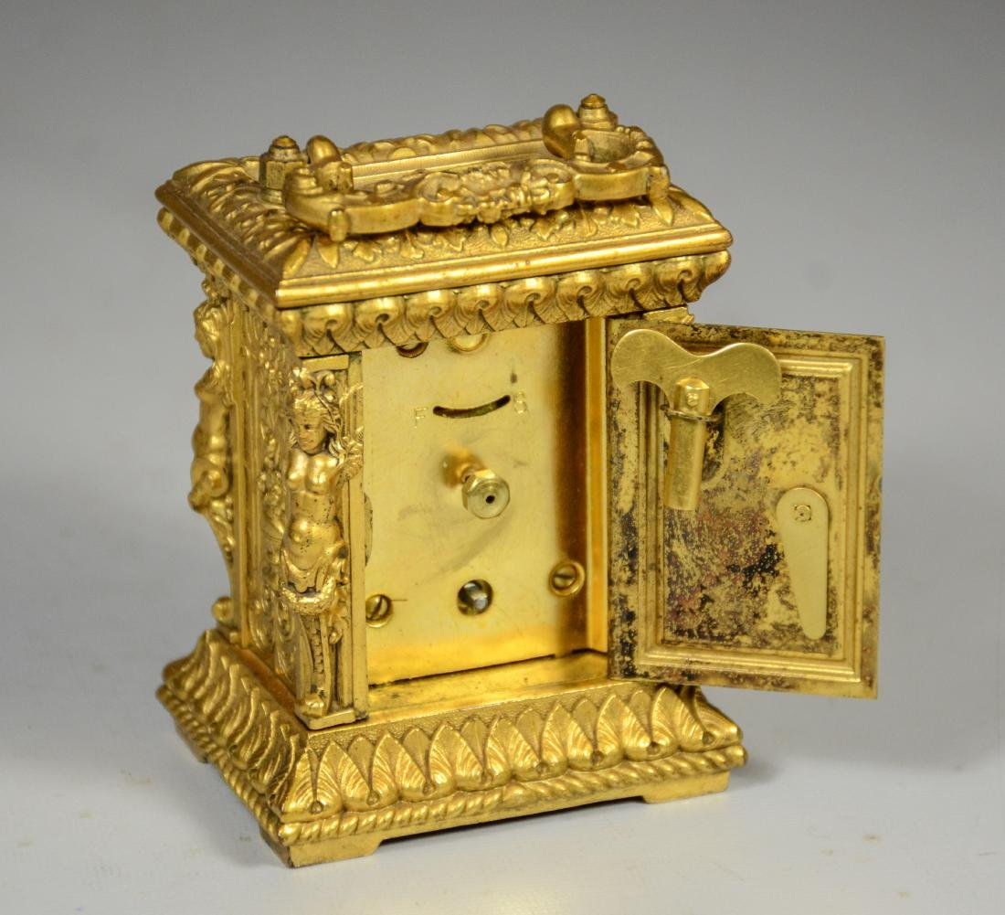 Continental gilt carriage clock, caryatid column - 7