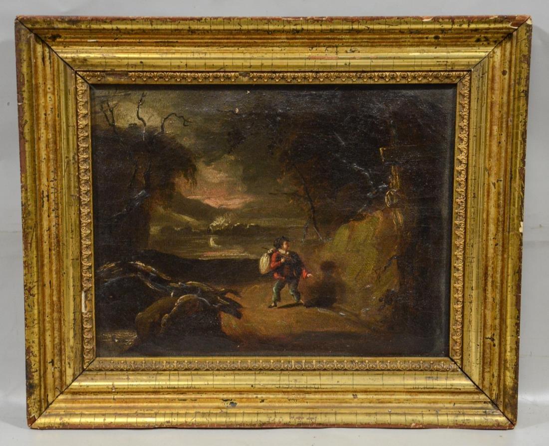 19th c Dutch Landscape, Oil on Canvas, unsigned, - 2