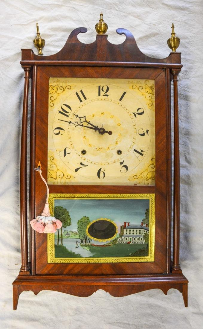 Samuel Terry mahogany pillar and scroll shelf clock,