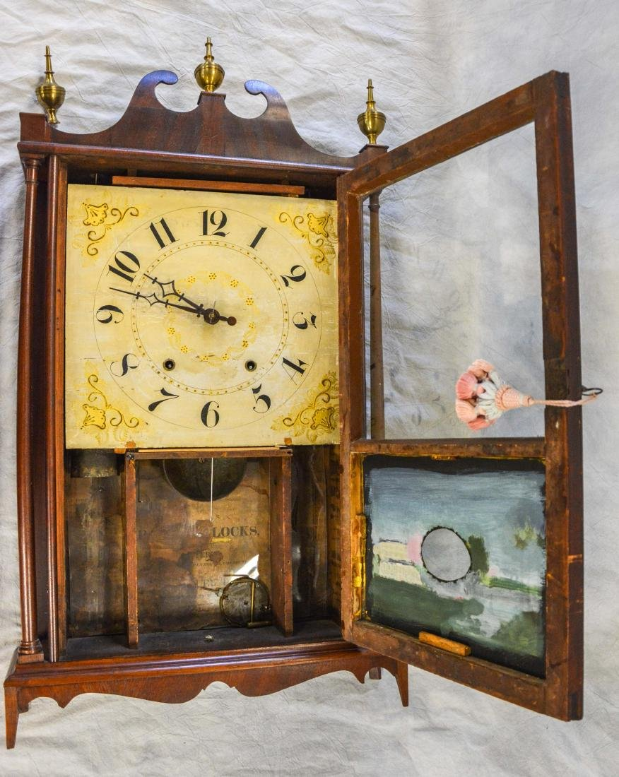 Samuel Terry mahogany pillar and scroll shelf clock, - 3