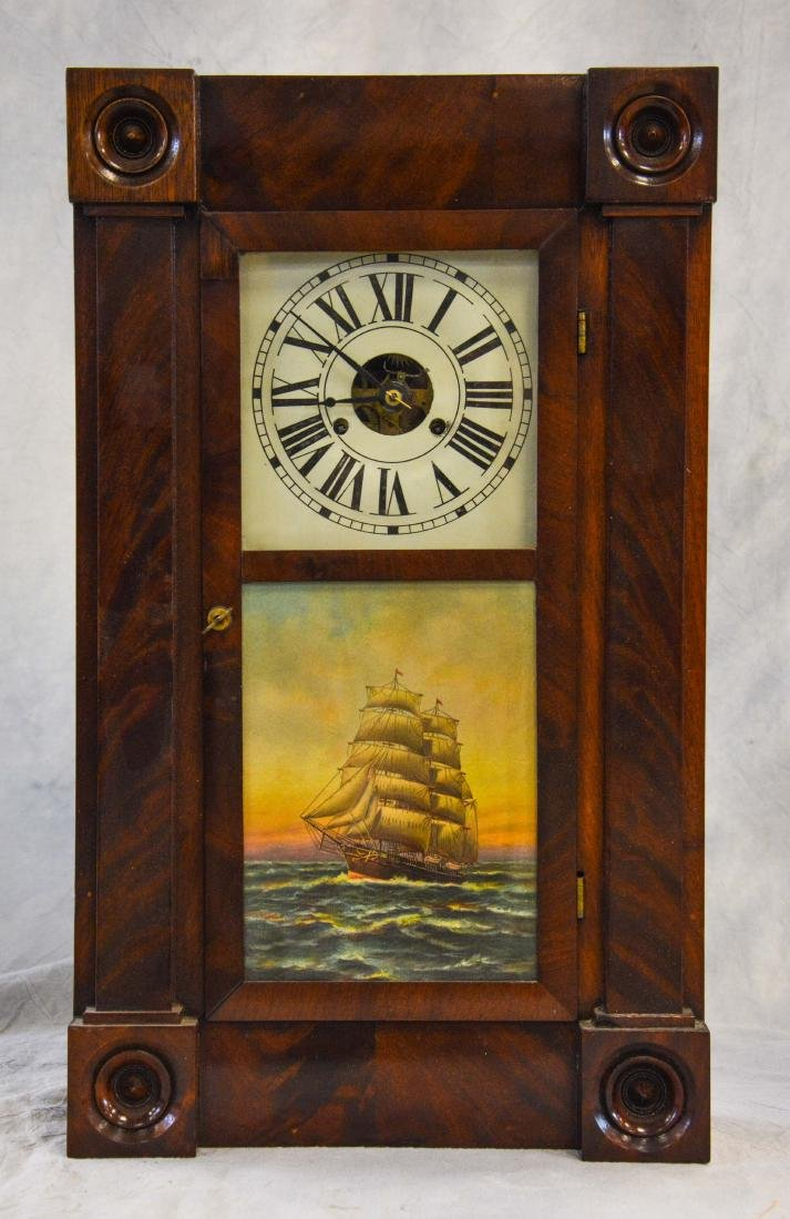 Mahogany Chauncey Jerome box clock, turned turret